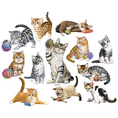 Kittens By The Dozen 250 Large Piece Shaped Mini Jigsaw Puzzle