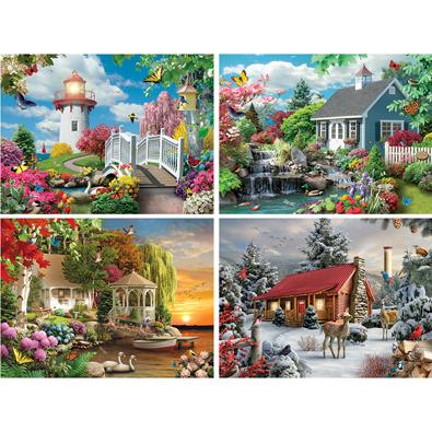 Set of 4 : Alan Giana 300 Large Piece Jigsaw Puzzles