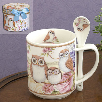 Ceramic Owls Mug With Spoon Set