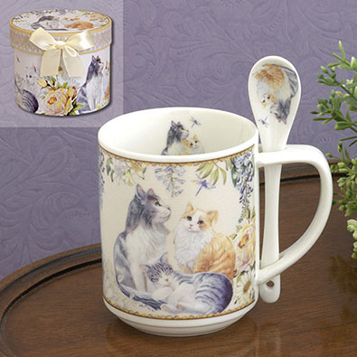 Ceramic Kittens Mug & Spoon Set