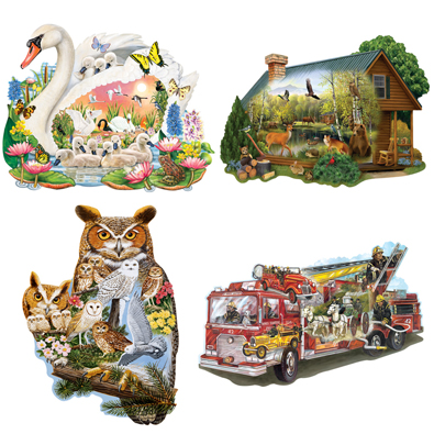 Set of 4 : 300 Large Piece Shaped Jigsaw Puzzles