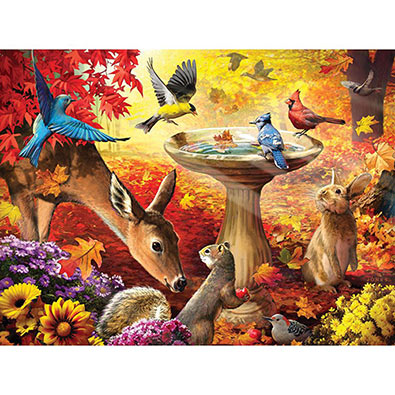 Autumn Birdbath 300 Large Piece Jigsaw Puzzle