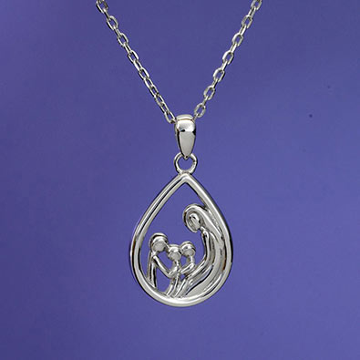 Mother & 3 Child Sterling Pendant Necklace