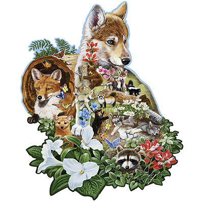 Wolf Pup 750 Piece Shaped Jigsaw Puzzle
