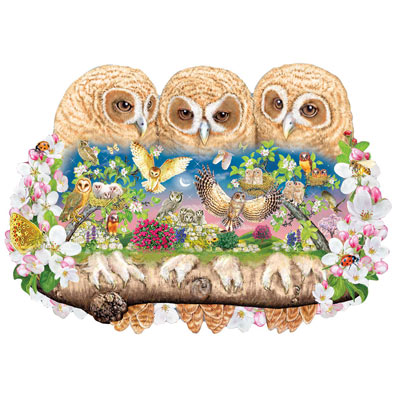 Owlets In the Moonlight 300 Large Piece Shaped Jigsaw Puzzle