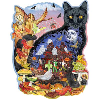 Black Cats Halloween Tale 300 Large Piece Shaped Jigsaw Puzzle