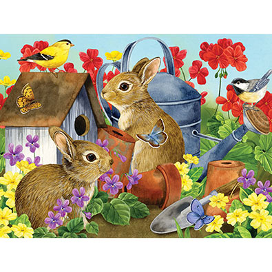 Bunnies & Birdhouse 500 Piece Jigsaw Puzzle