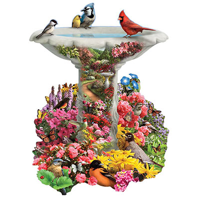 Birdbath Garden 300 Large Piece Shaped Jigsaw Puzzle