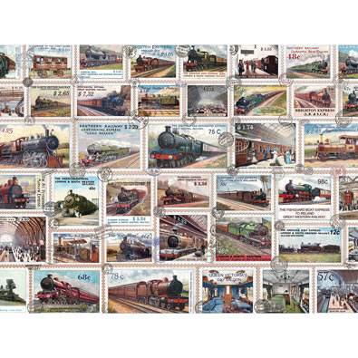 Vintage Train Stamps 500 Piece Jigsaw Puzzle