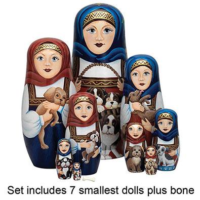 Set of Smallest 8 Dolls : Nesting Dog Ladies