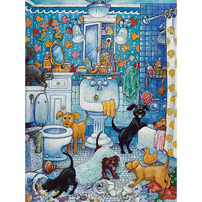 More Bathroom Pups 300 Large Piece Jigsaw Puzzle