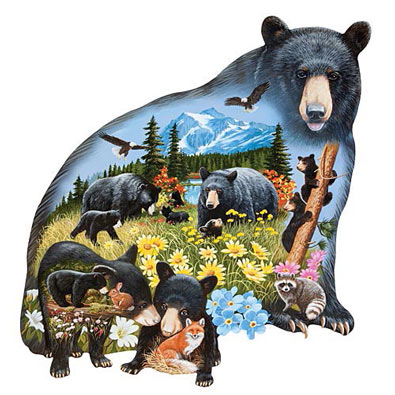 Black Bear Mountain 300 Large Piece Shaped Jigsaw Puzzle