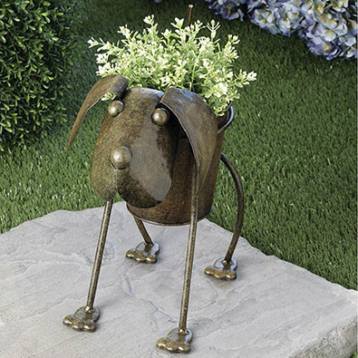 Outdoor Bobbing Dog Planter