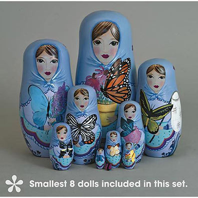 Beautiful Nesting Butterfly Ladies : Smallest 8 Dolls