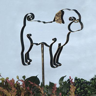 Pug Garden Stake