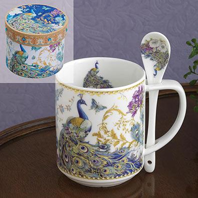 Ceramic Peacocks Mug With Spoon Set
