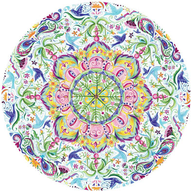 Blue Bird Kaleidoscope 500 Piece Round Jigsaw Puzzle