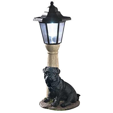 Solar Black Pug Lantern