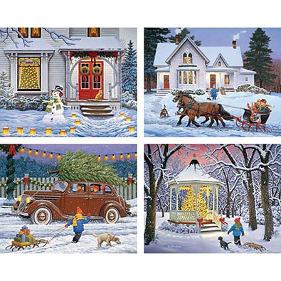 The Holiday Spirit 4-in-1 500 Piece Puzzle Set