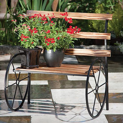 Wooden Bench Plant Stand