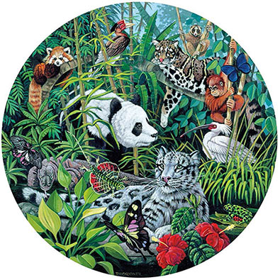 Asian Rainforest 600 Piece Round Jigsaw Puzzle