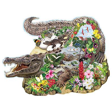 Crocodile Island 750 Piece Shaped Jigsaw Puzzle