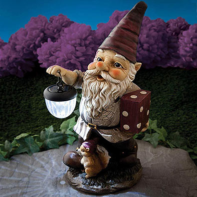 Our Gnome Lights The Way Solar Garden Statue