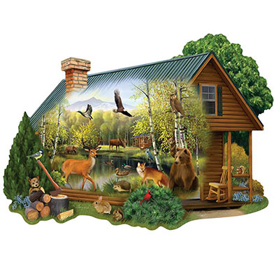 Cabin In The Woods 750 Piece Shaped Jigsaw Puzzle