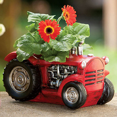 Vintage Red Tractor Planter