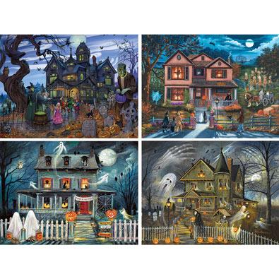 Set of 4: Halloween 1000 Piece Jigsaw Puzzles