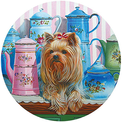 Yorkie And Antique Jugs 300 Large Piece Round Jigsaw Puzzle