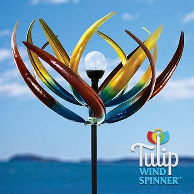 Solar Multicolour Tulip Wind Spinner