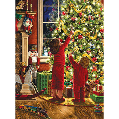 Children Decorating The Christmas Tree 1000 Piece Glitter Effect Jigsaw Puzzle