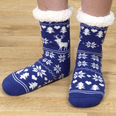 Blue Nordic Slipper Socks
