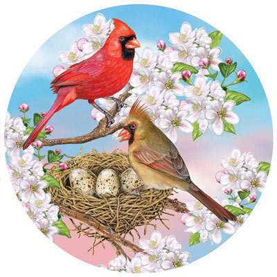Cardinals In Spring 300 Large Piece Round Jigsaw Puzzle