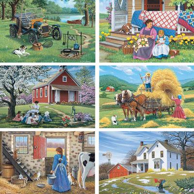 Set of 6: John Sloane 500 Piece Jigsaw Puzzle