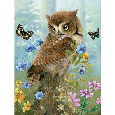 Owl In The Meadow 300 Large Piece Jigsaw Puzzle