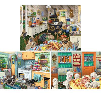 Set of 3: Dog Gone Good Fun 500 Piece Jigsaw Puzzles