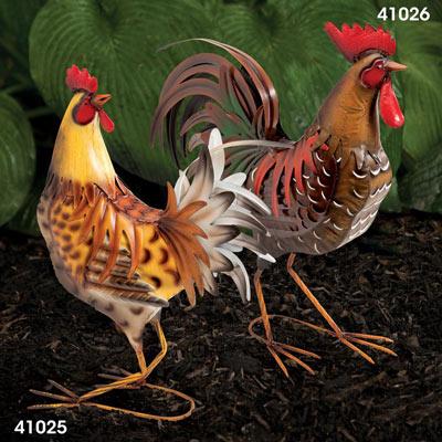 Metal Chicken Garden Sculpture