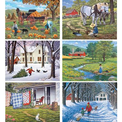 Set of 6 : John Sloane 300 Large Piece Jigsaw Puzzles
