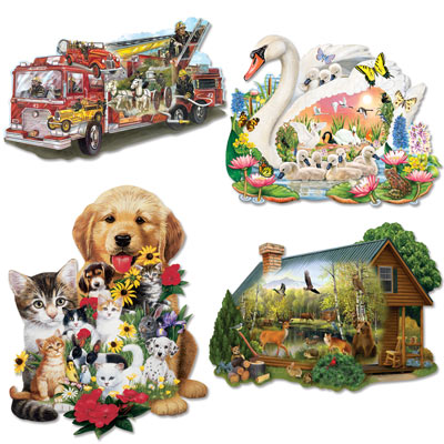 Set of 4: 750 Piece Shaped Jigsaw Puzzles
