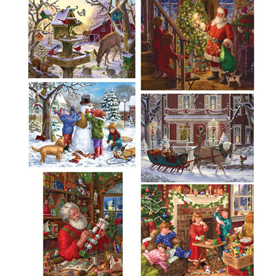 Set of 6 : Holiday Cheer 300 Large Piece Jigsaw Puzzles