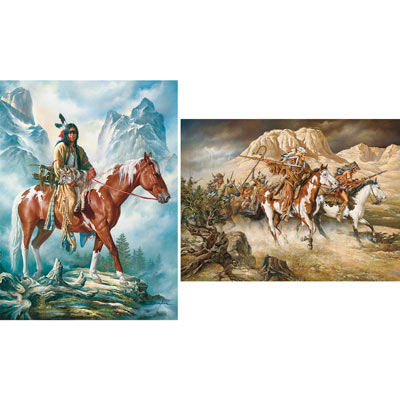 Set of 2: 300 Large Piece Native American Jigsaw Puzzles