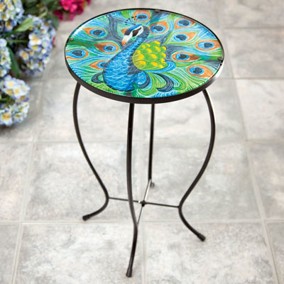 Peacock Glass Top Table