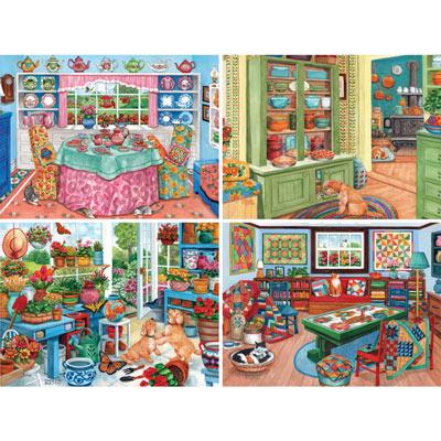 Set of 4: Parker Fulton 300 Large Piece Jigsaw Puzzles