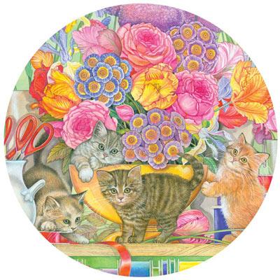 Flower Shop Kittens 500 Piece Round Jigsaw Puzzle