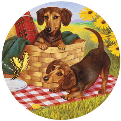 Picnic Supper 300 Large Piece Round Jigsaw Puzzle