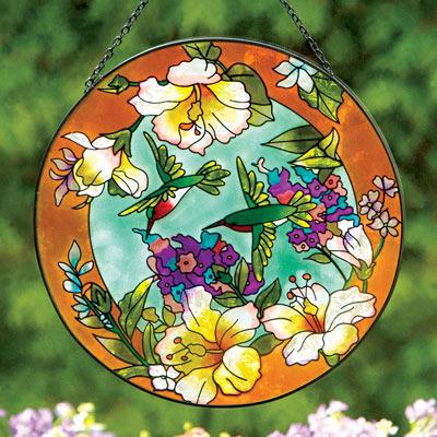 Hummingbird Art Glass Suncatcher