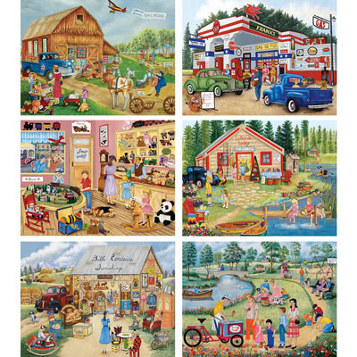 Set of 6 : Kay Lamb Shannon 500 Large Piece Jigsaw Puzzles