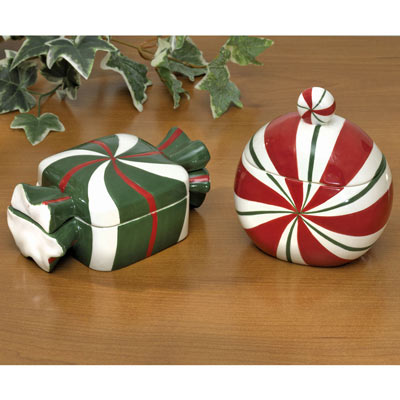 Set of Two: Candy & Peppermint Keepsake Boxes